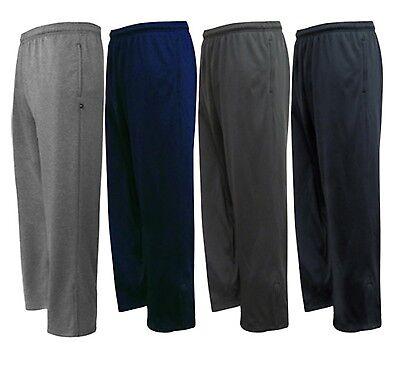 (Men's Open Bottom Cotton Elastic Waist Fleece Sweatpants 2 Pockets Gym Run Walk)