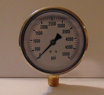 New Hydraulic Liquid Filled Pressure Gauge 0 - 5000 Psi 4 Face 12 Npt Lm