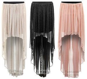 Ladies-Shiny-Peach-Stone-Black-High-Low-Asymmetric-Long-Maxi-Womens-Skirt-8-14