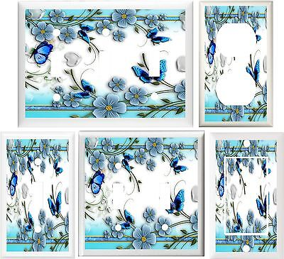 Pretty Flower Bed - BLUE BUTTERFLIES & FLOWERS PRETTY BED & BATH LIGHT SWITCH OR OUTLET COVER V108