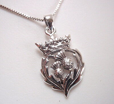 The Thistle Scottish National Flower Pendant 925 Sterling Silver  National Silver Thistle