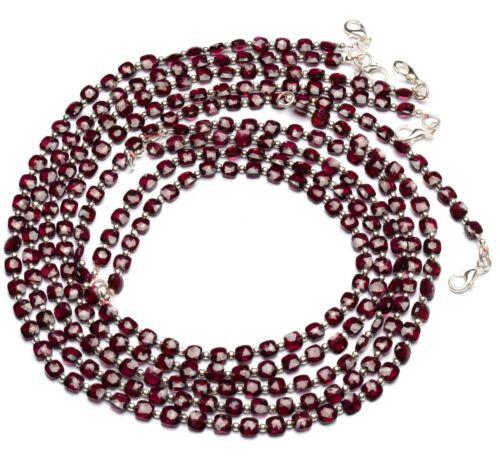 """Natural Gem Rhodolite Garnet 5.5mm Size Faceted Cushion Beads Necklace 16.5"""""""