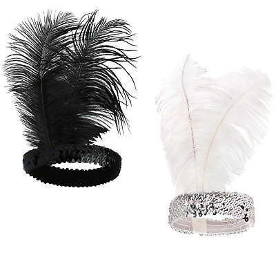 Art Deco The Great Gatsby Flapper Feather Sequin Headband Party Accessory - Great Gatsby Accessories