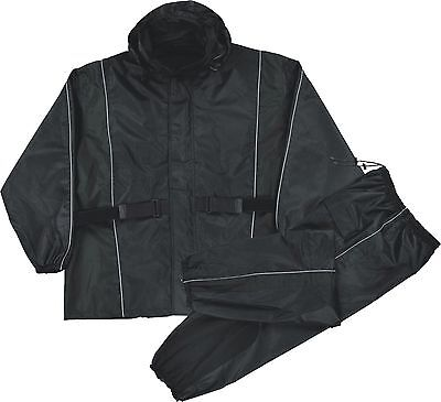 Deluxe Rainsuit (Ladies Black Deluxe Rain Suit For Motorcycle Riders w/ Reflective Piping)