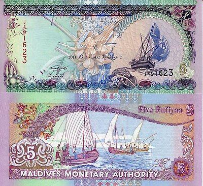 Maldives 5 Rufiyaa Banknote World Paper Money Unc Currency Pick P18d 2011 Ship