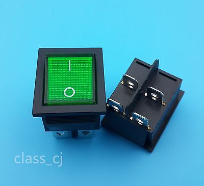 5pcs Kcd4 Green Lamp 4pin On-off 2position Dpst Rocker Switch Panel Mount
