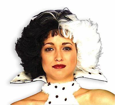 Black And White Wig Halloween Costume (CRUELLA DE VILLE WIG black white hair womens 101 Dalmations halloween)