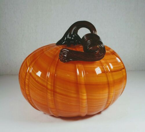 "Diamond Star Corp. Art Glass Orange Swirl Pumpkin With Brown Stem, 8"" Diameter"