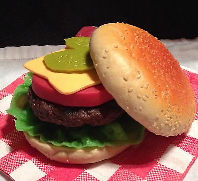 Realistic Artificial Imitation Faux Fake Play Food Replica CHEESEBURGER MTC PROP