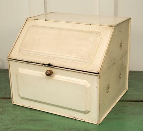 Vintage Antique Tin Countertop Bread Box Pie Safe Primitive 2 sections