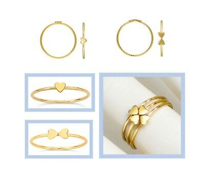 14k Gold Filled Heart Stacking Ring Band  Size 6 & 7
