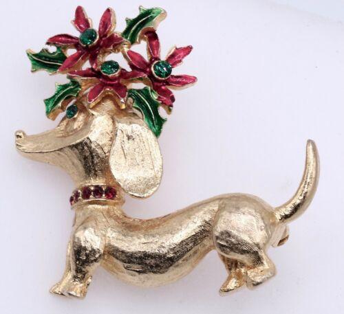 Mylu Signed Christmas Holiday Dachshund Doxie Dog Brooch Pin Holly Rhinestone