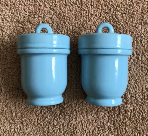 Pair Light Blue Colored Vintage EGG CODDLER - Made in England