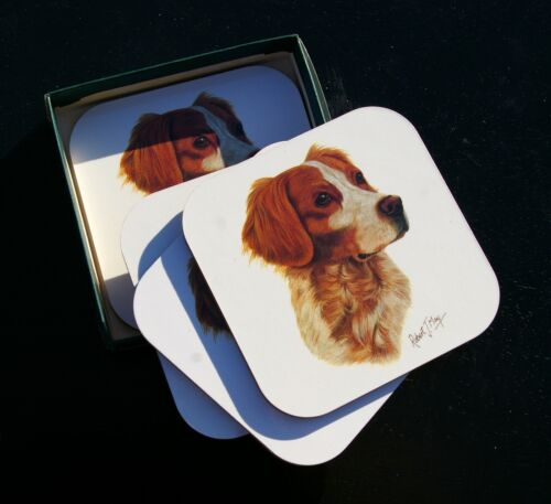 """1993 Brittany Spaniel Dog Set of 4 Cork Backed 4"""" Coasters Art by Robert J. May"""