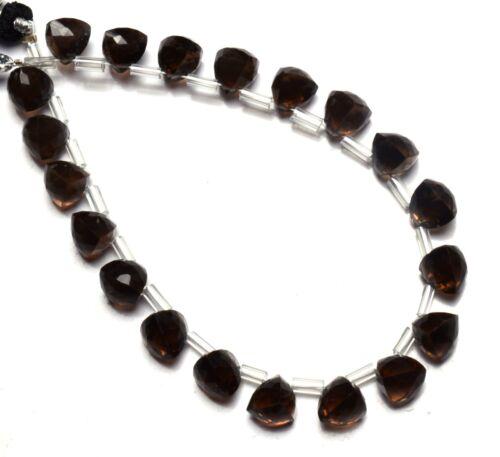 "Natural Gem Smoky Quartz Faceted 7MM Approx. Trillion Shape Beads 7.5"" Strand"