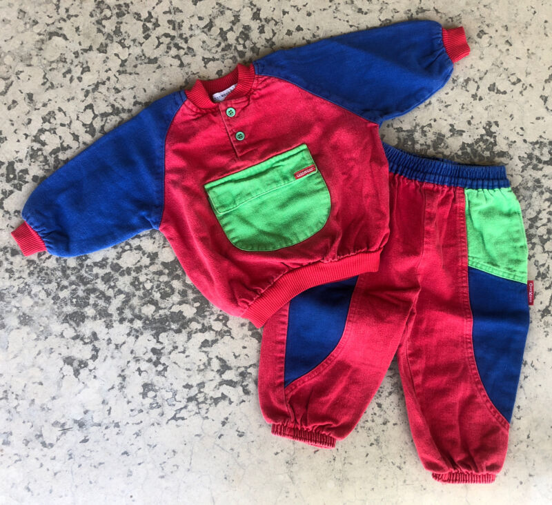 Vintage OshKosh Colorblock Outfit Top Pant 24 Mo 24M Blue Red Green toddler USA