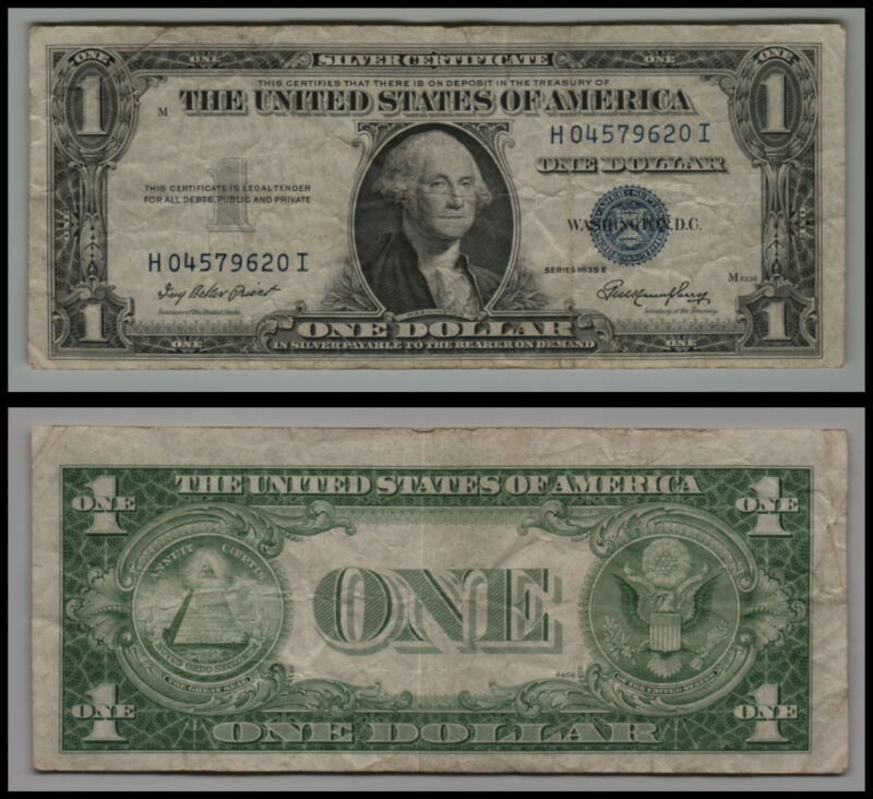 1935e 1 One Dollar Silver Certificate Circulated Banknote Lot V301