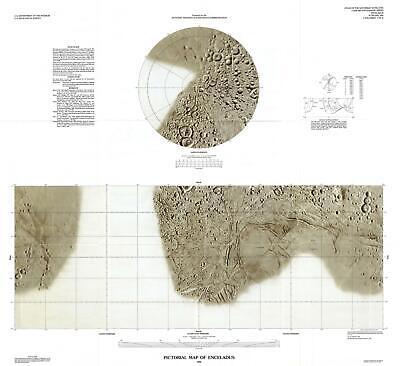 1992 U.S. Geological Survey Pictorial Map of Enceladus, Moon of Saturn