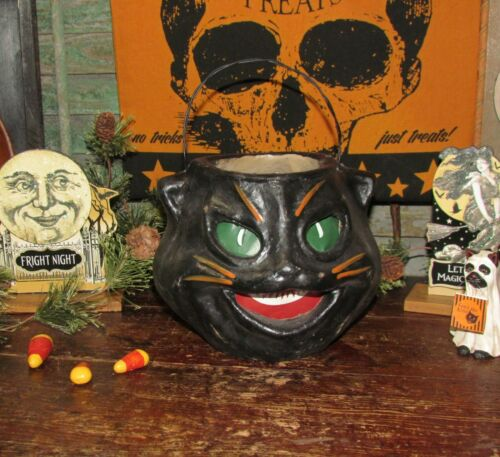 Primitive Antique Vtg Paper Mache Style Halloween Black Scaredy Cat Bucket