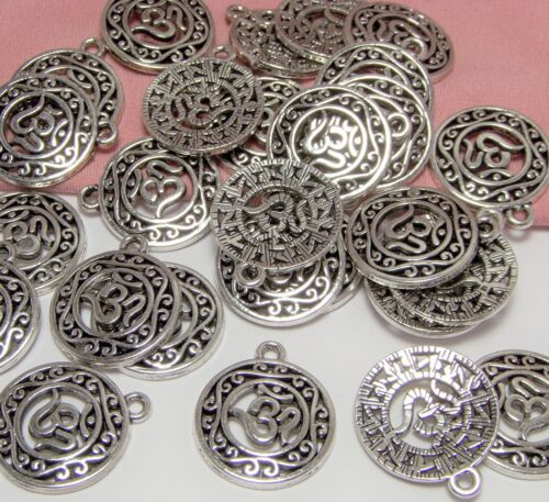 LOT OF 50 SILVER OHM CHARMS-YOGA-MEDITATION-ZEN-JEWELRY MAKING FINDINGS-DROPS