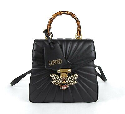 Gucci Queen Margaret Black Leather Pearl and Bee Backpack 476664 8230