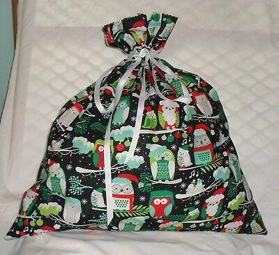 Owl Gift Bags (Christmas Owl Design Homemade Fabric Gift Bag)