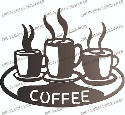 Coffee Dxf Sign Plasma Laser Waterjet Router Plotter Cut Vector Cnc File Art