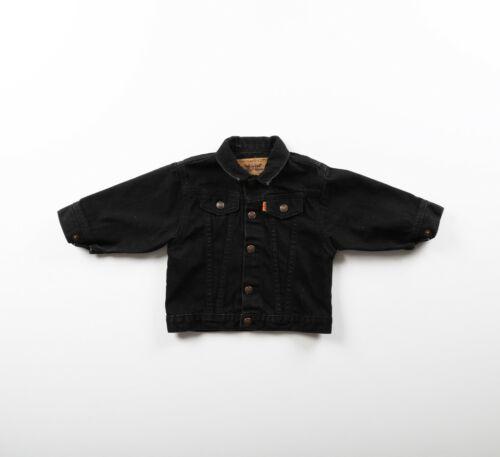 Vintage Little Levis Denim Jean Jacket Orange Tab Toddler Kids Sz 24MO Black