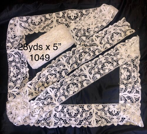 """28yds x 5"""" Antique Hand Made Needle Lace Early 20thC-MIN.3 YARD PURCHASE 1049"""