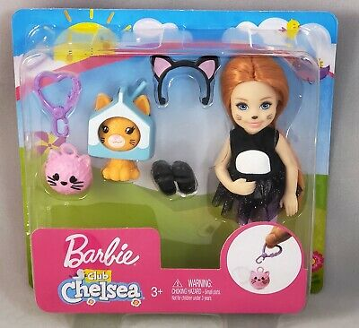 Costume With Red Hair (Barbie Club Chelsea Kitty Dress-Up Doll in Cat Costume with Accessories Red)
