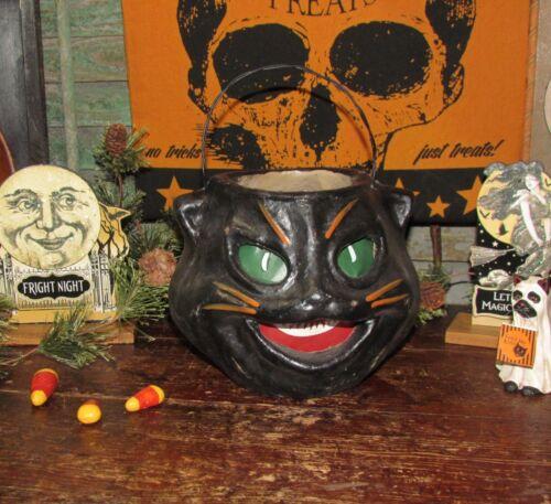 Antique Vtg Paper Mache Style Halloween Lantern Scaredy Fraidy Black Cat Bucket