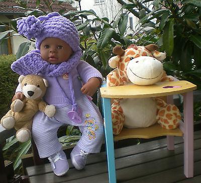 SET: Zapf Puppe dunkle Chou Chou 48 cm 2000 + Zubehör + Babykleidung, Baby Doll