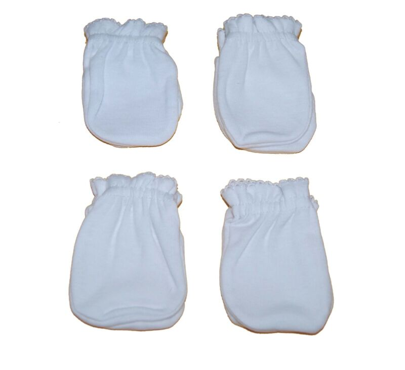 4 Pairs Cotton Newborn Baby/infant anti-scratch Mittens Gloves - White