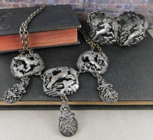 Vintage / Antique Jumping Goat Ram Panel Bracelet & Necklace Set