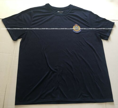 Sz XL - Royal. hong. kong. polyester tee. police. w/woven badge (1969-1997)blue