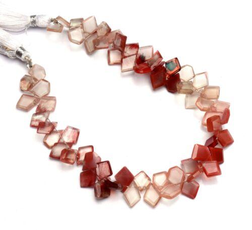 """Natural Andesine Labradorite Gem Faceted Slice Shape Beads Strand 9"""" 77Cts."""