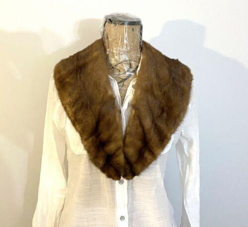 Vintage Light Brown Mink Genuine Fur Collar for Coat Jacket Sweater