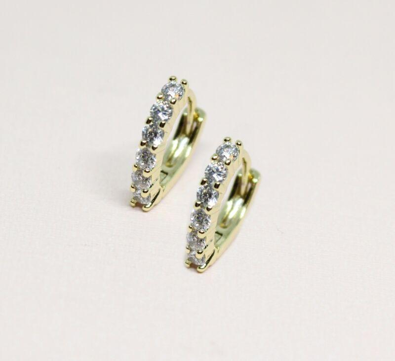 18k Gold Plated Small Clear Crystal Girl Teen Hoop Huggie Earrings 10mm