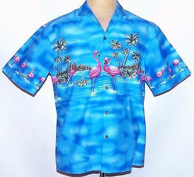 Ky ' Klein Rosa Flamingos Palme Oahu Diamond Head Blau Hawaii Camp Aloha Hemd L