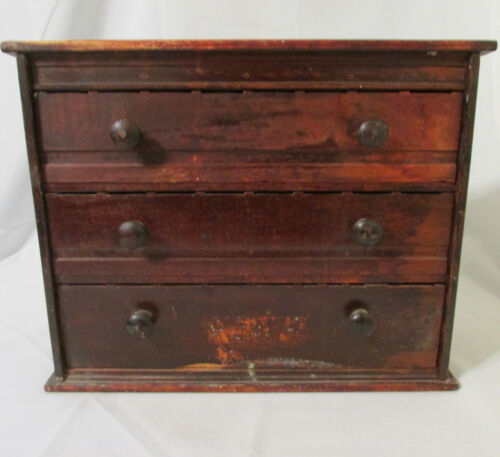 Antique McCourt 3 Drawer Wood Pharmacy Label Dispenser Cabinet Early 1900s