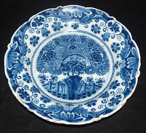 ANTIQUE DELFT POTTERY DUTCH TIN GLAZED PLATE BP 18TH CENTURY TEA TREE DECORATION