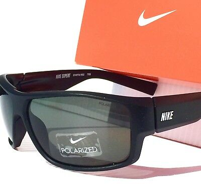 New  Nike Expert P Grey Polarized Lens In Matte Black Sunglass Evo714 002