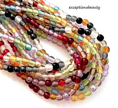 500 Preciosa Assorted 4mm Round Druk Bulk Czech Glass Spacer Beads