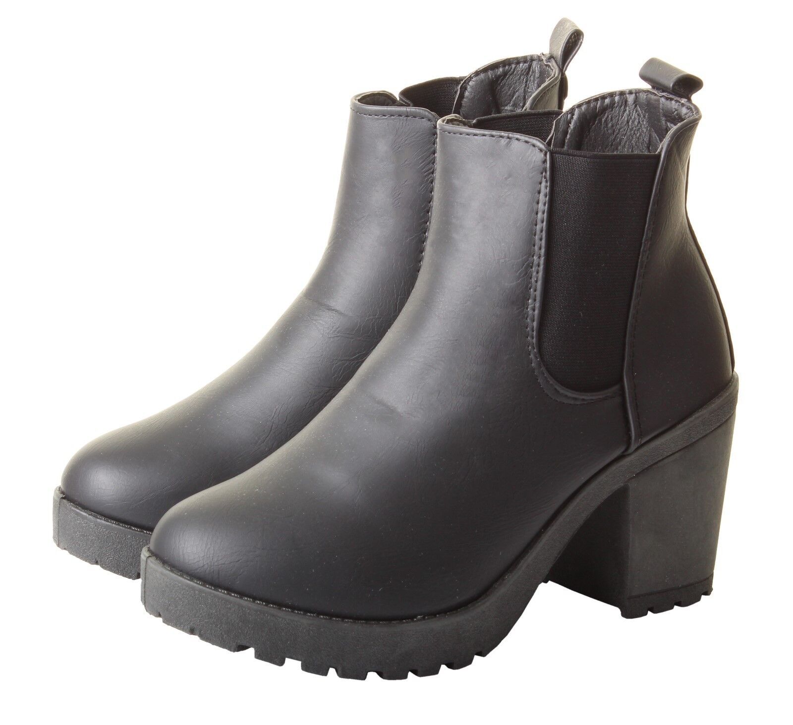 Woman's Chunky Grip Sole Block High Heel Chelsea Stretch Black Ankle Boots Shoes 1