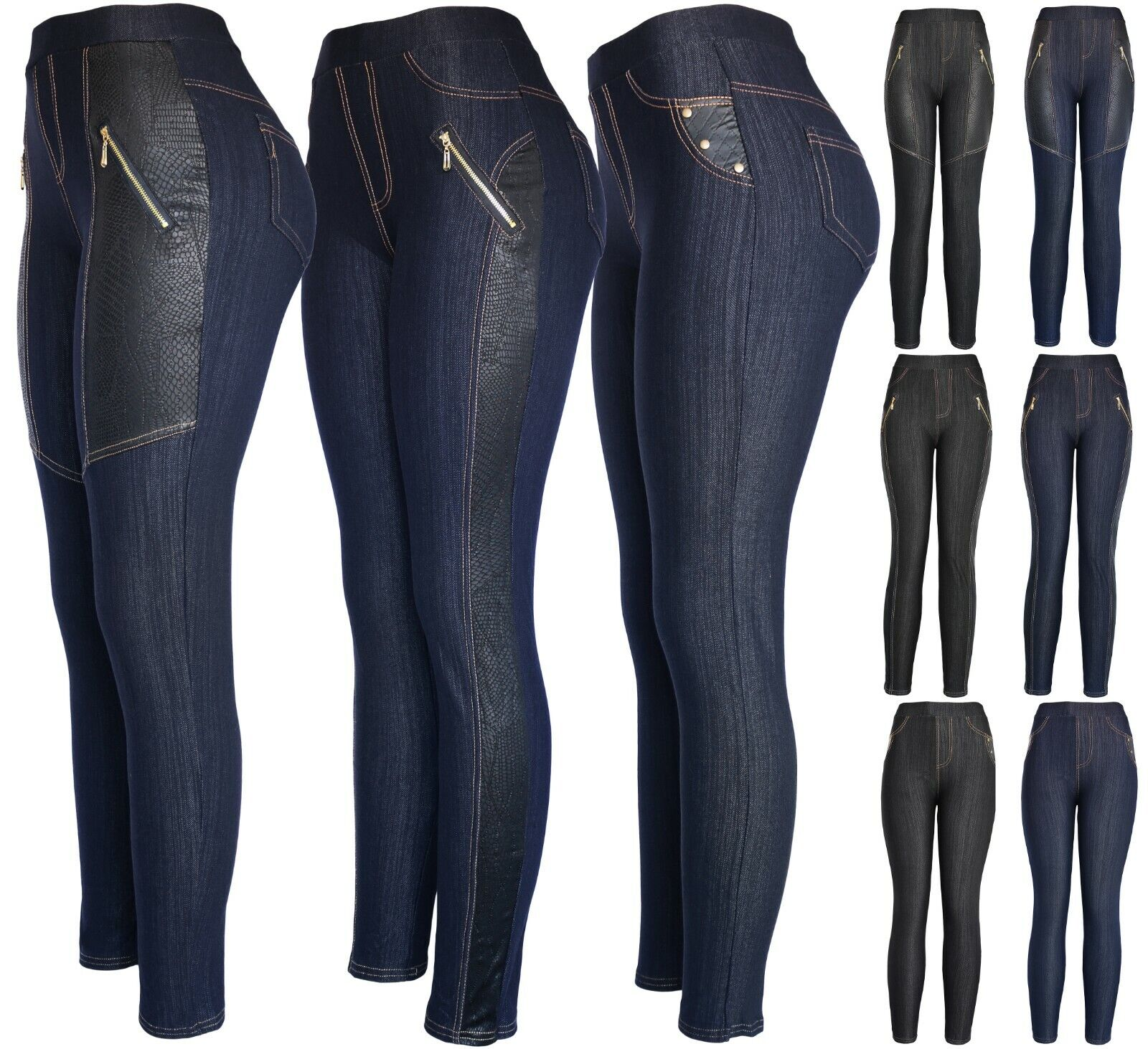 Womens Classic Denim Look with Faux Insert Leggings Pants Clothing, Shoes & Accessories