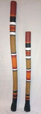 Australian Aboriginal Hand-Made/Painted DIDGERIDOO lot of 2 Set Made of ? PVC