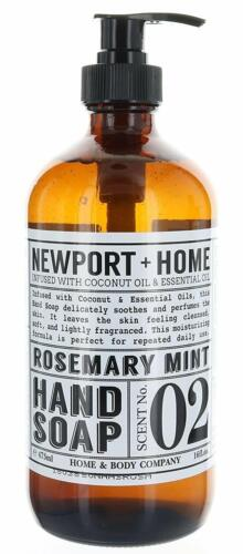 Newport + Home Hand Soap, Rosemary Mint 16 oz, Infused w/Coconut Oil