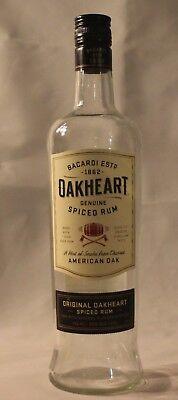 Bacardi Oakheart Spiced Rum Glass Bottle 750mL - EMPTY BOTTLE for DIY Art Craft