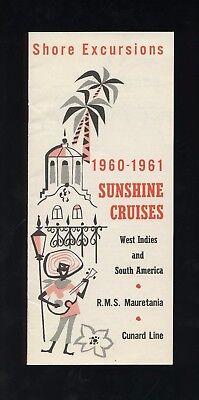 1960-61 RMS Mauretania Shore Excursions Brochure - Sunshine Cruise - Cunard Line