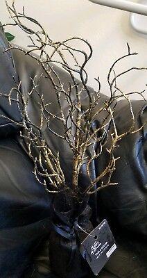 Black & Gold Glitter Halloween Ornament Tree Tabletop Decor Centerpiece 18